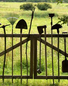 Depicts old garden tools
