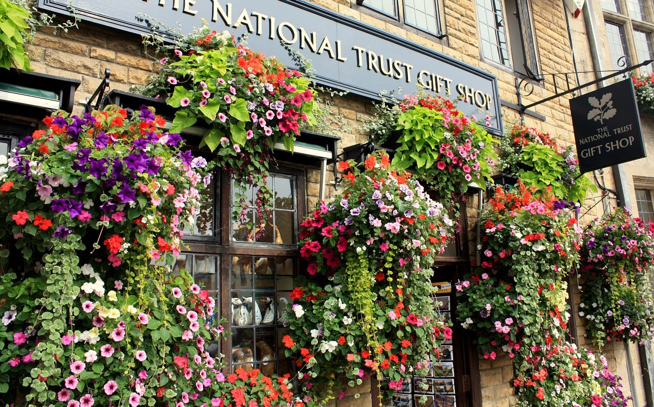 Beautiful floral display at a National Trust shop