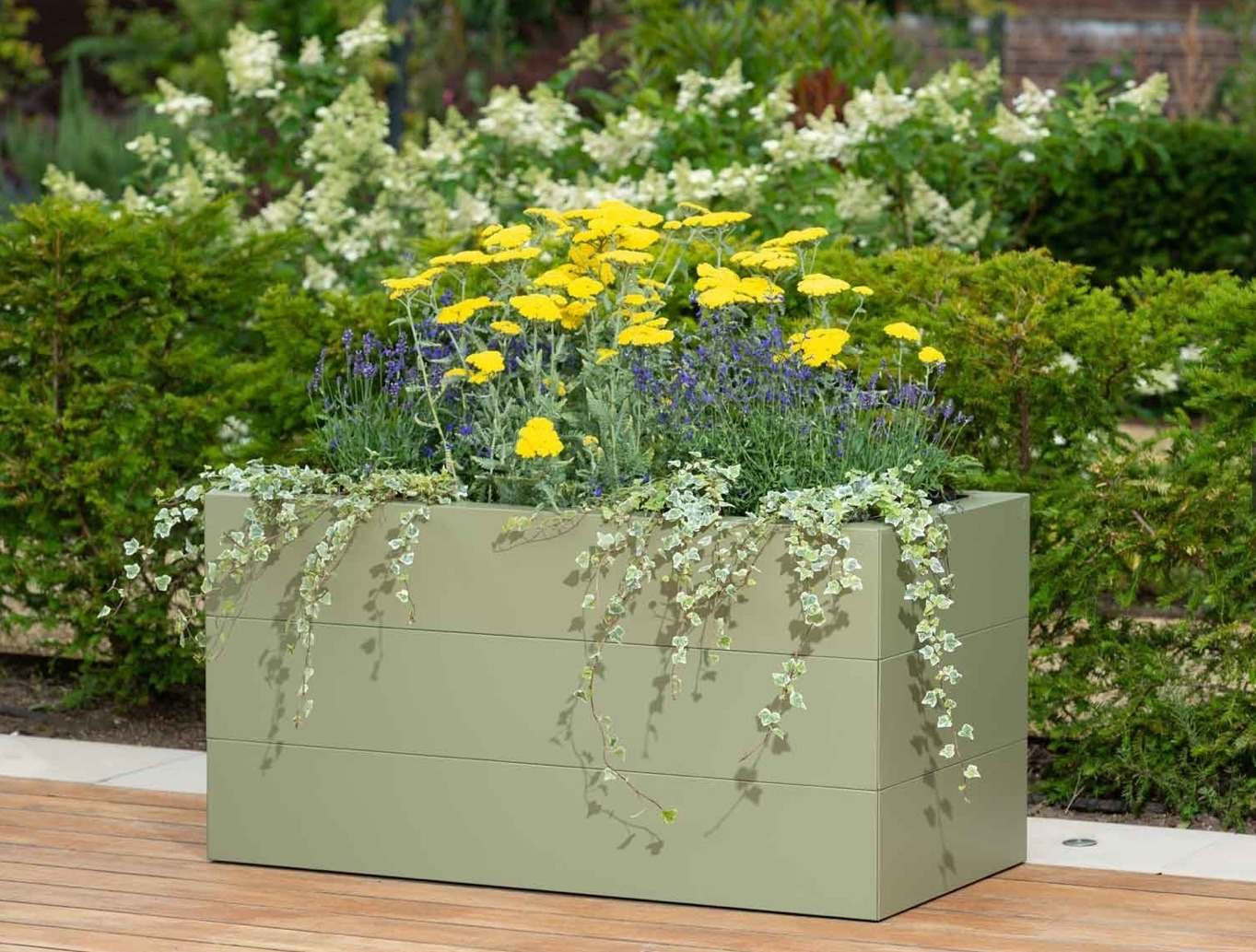 Metal Raised Planter Powdercoated Pale Green