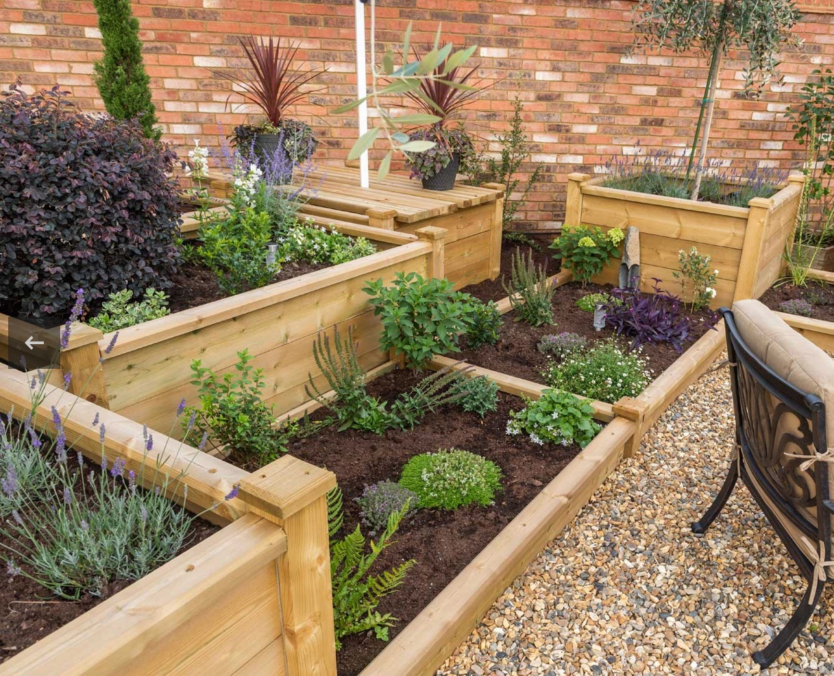 Wooden raised planters