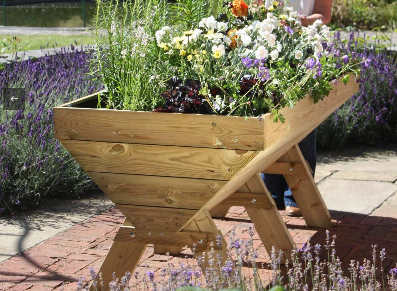 Wooden manger raised planter