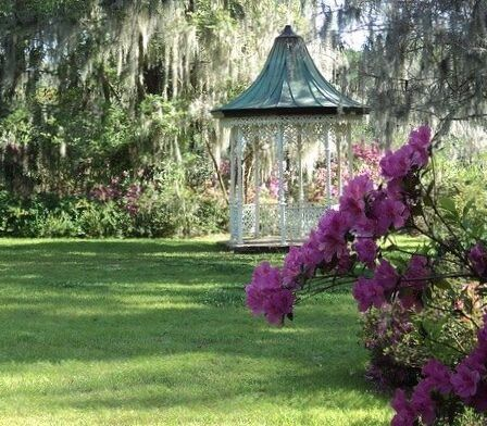 Lawned garden with gazebo best spring lawn care tips