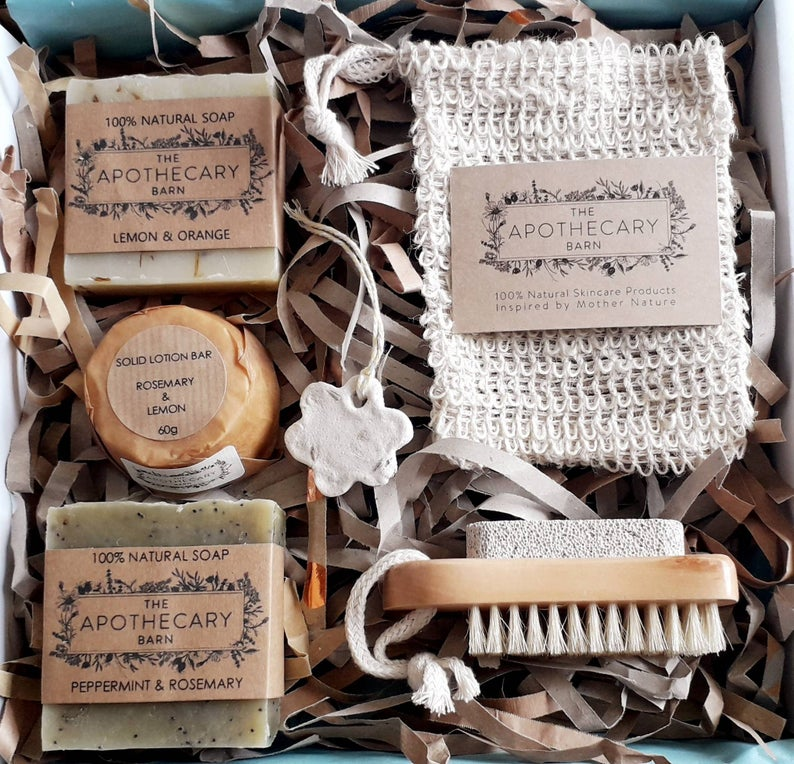 Selection of handmade soaps , cloth and nailbrush gift set 12 cool handmade gifts for gardeners