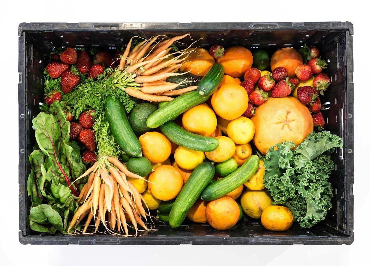 Box of fresh vegetables Grow your own easy vegetables and fruit