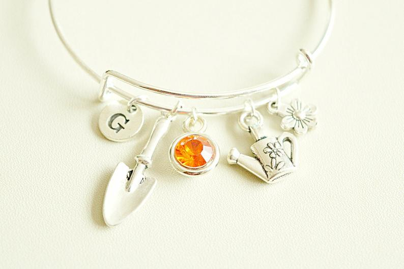 Gardening theme silver charm bracelet