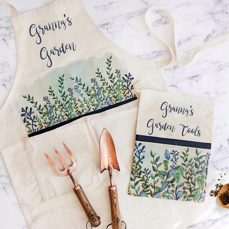 Cool Handmade Gifts For Gardeners. Apron and garden tools in a canvas bag