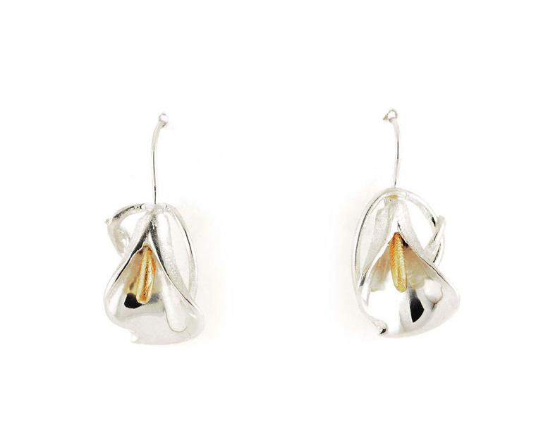 Calla Lily Siver Drop Earrings