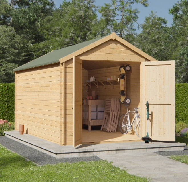 Large wooden double door garden shed