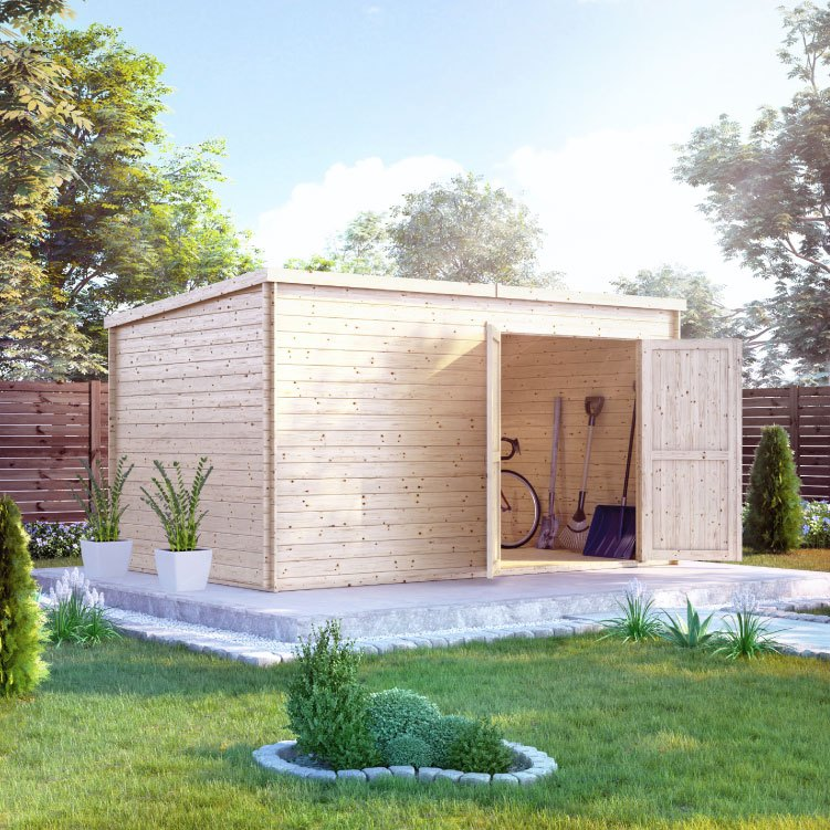 Flat roof large wooden garden storage shed