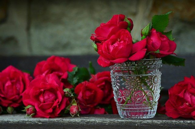 A glass vase with red roses, shrubs for cutting flowers and foliage